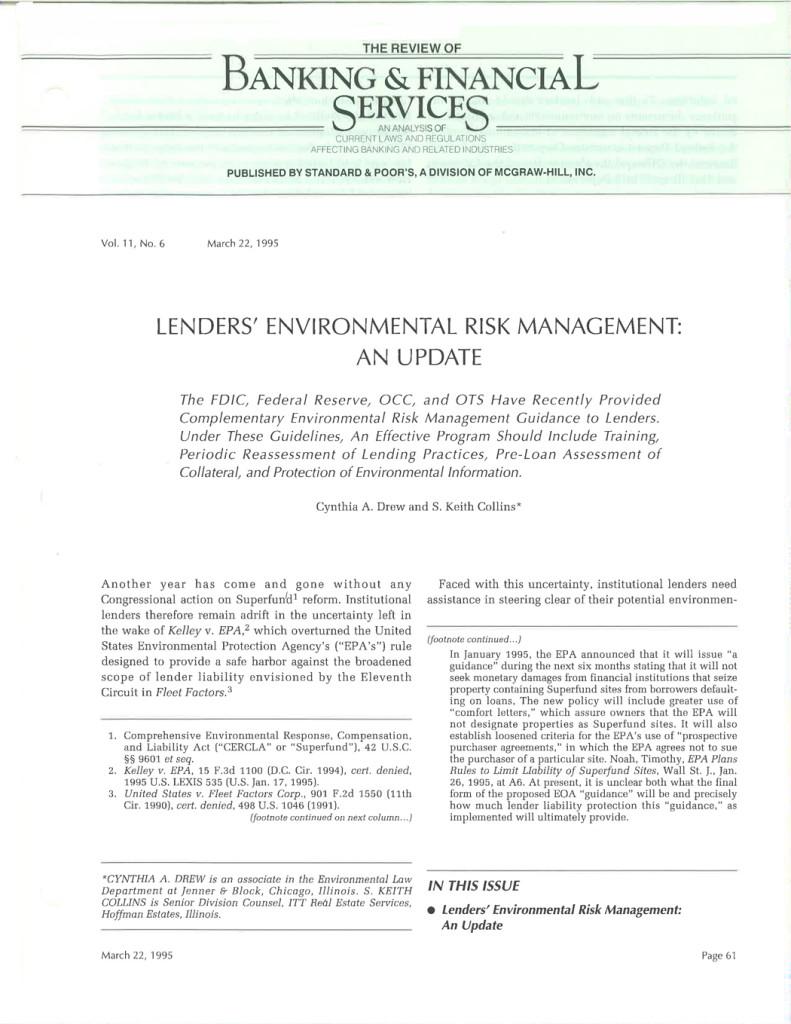Lenders'-Environmental-Risk-Management-an-Update